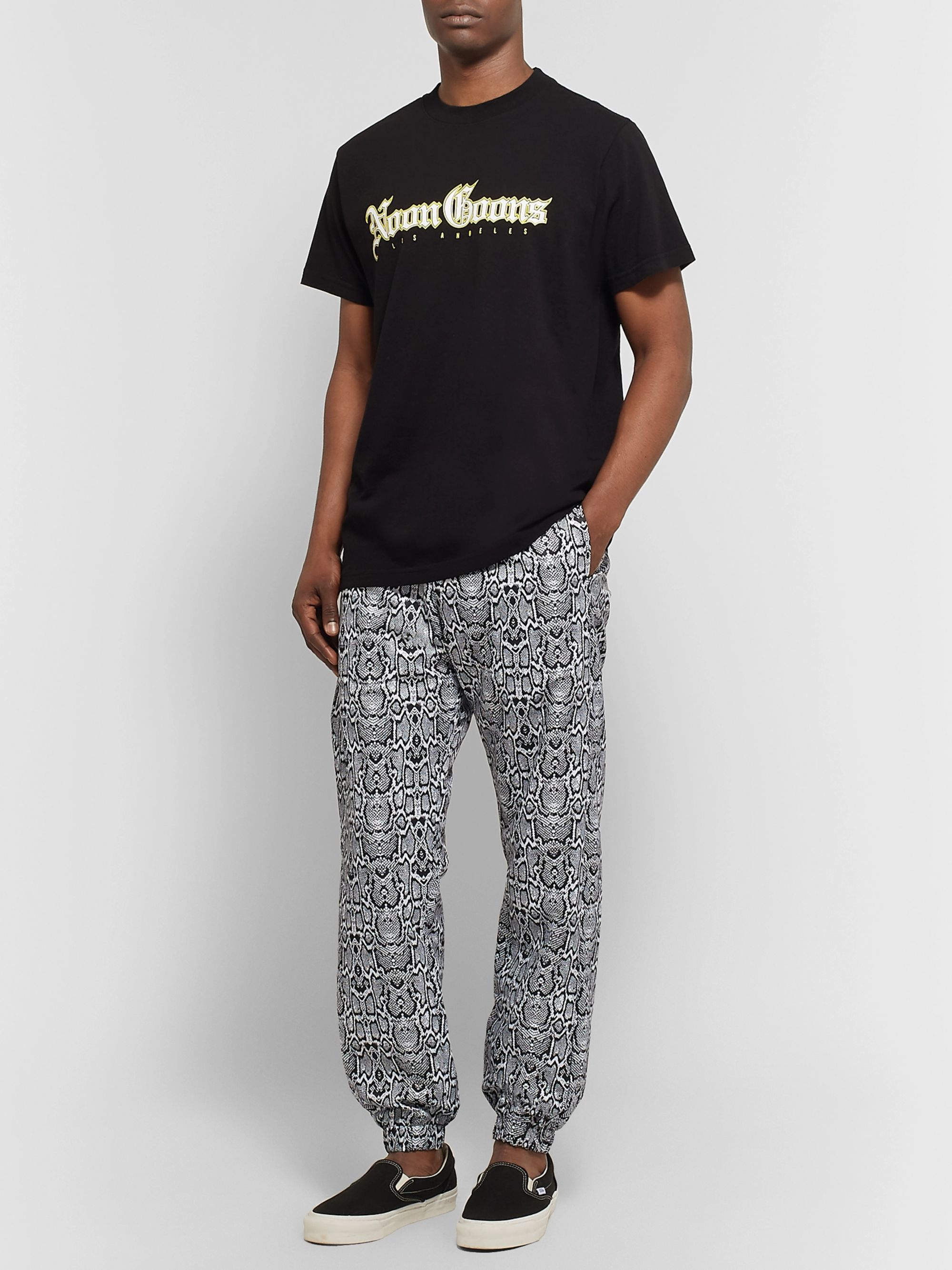 Noon Goons Logo-Embroidered Snake-Print Shell Track Pants