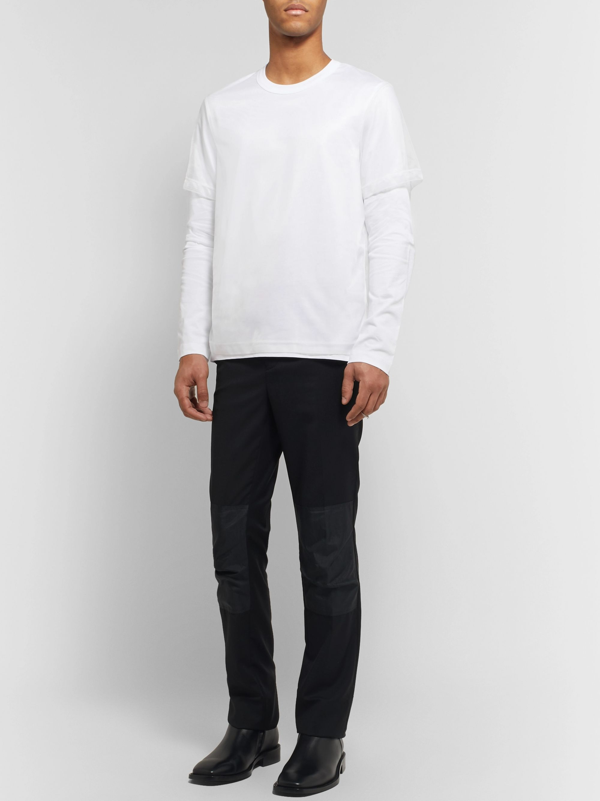 Helmut Lang Layered Cotton-Jersey and Organza T-Shirt