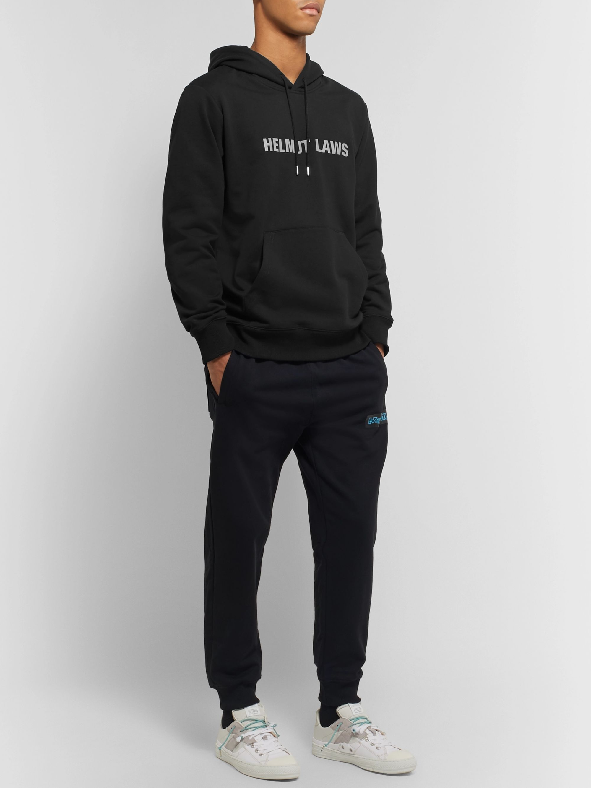 Helmut Lang Logo-Print Loopback Cotton-Jersey Hoodie