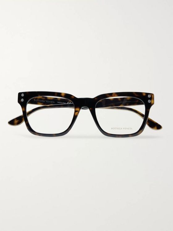 Bottega Veneta Square-Frame Tortoiseshell Acetate Optical Glasses