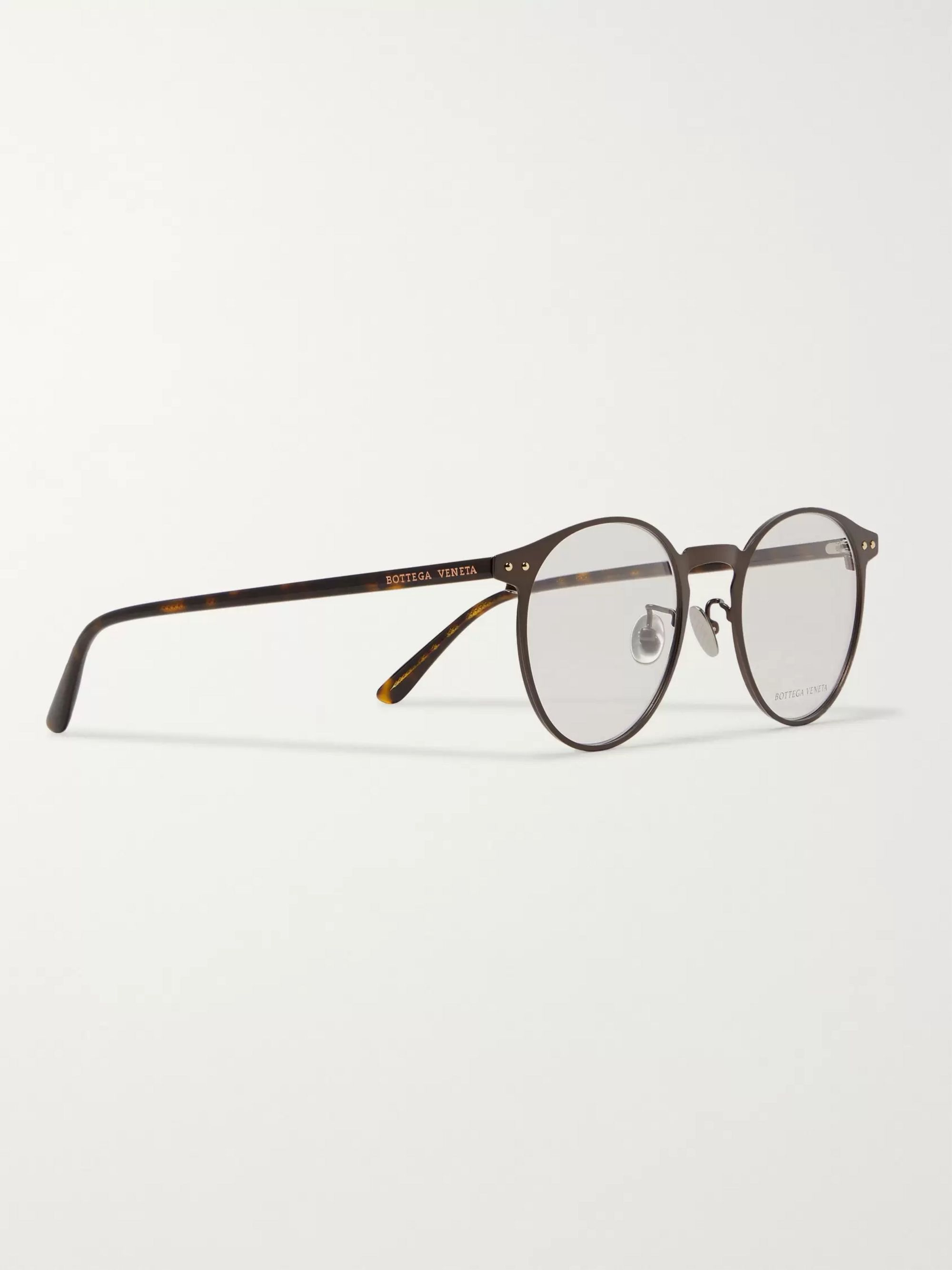 Bottega Veneta Round-Frame Metal and Tortoiseshell Acetate Optical Glasses