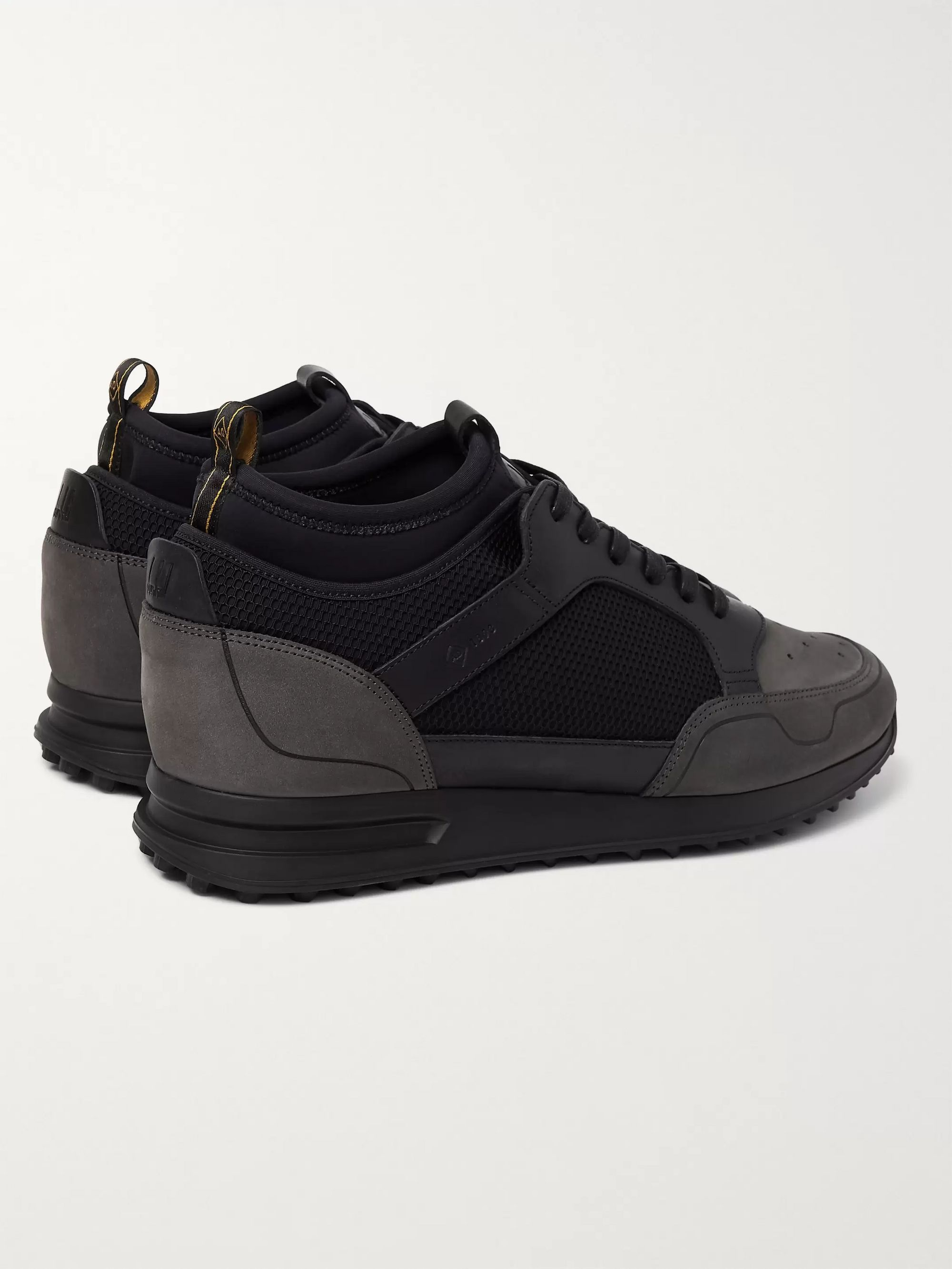 Dunhill Radial Runner Neoprene and Leather-Trimmed Suede and Mesh Sneakers
