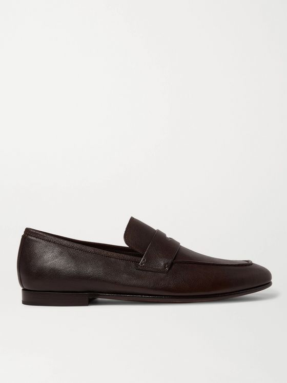DUNHILL Textured-Leather Penny Loafers