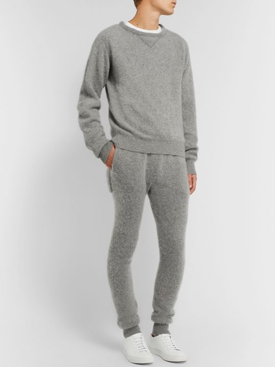 Secondskin Slim-Fit Tapered Brushed-Cashmere Sweatpants