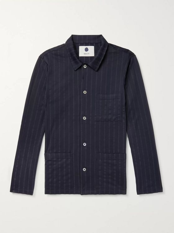 NN07 Ezra Camp-Collar Pinstriped Cotton Overshirt