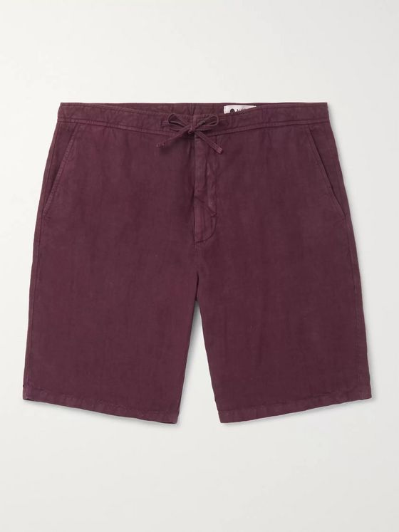 NN07 Copenhagen Slim-Fit Tapered Garment-Dyed Linen Drawstring Shorts