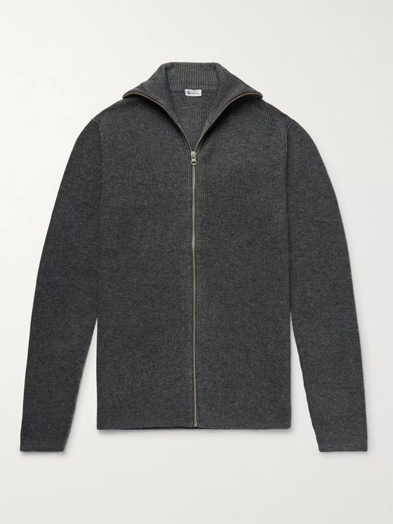 Schiesser Jonah Slim-Fit Mélange Wool and Cashmere-Blend Zip-Up Cardigan
