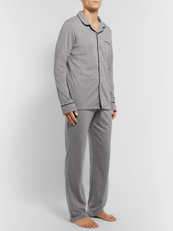 Schiesser Friedolin Piped Mélange Cotton Pyjama Set