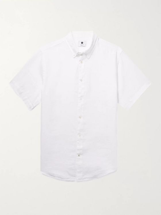 NN07 New Derek Button-Down Collar Garment-Dyed Linen Shirt