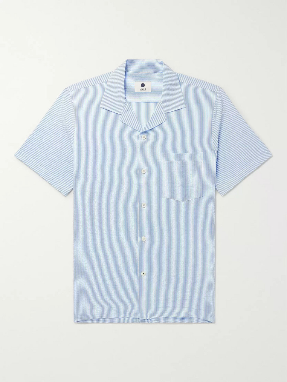 NN07 Miyagi Camp-Collar Striped Seersucker Shirt
