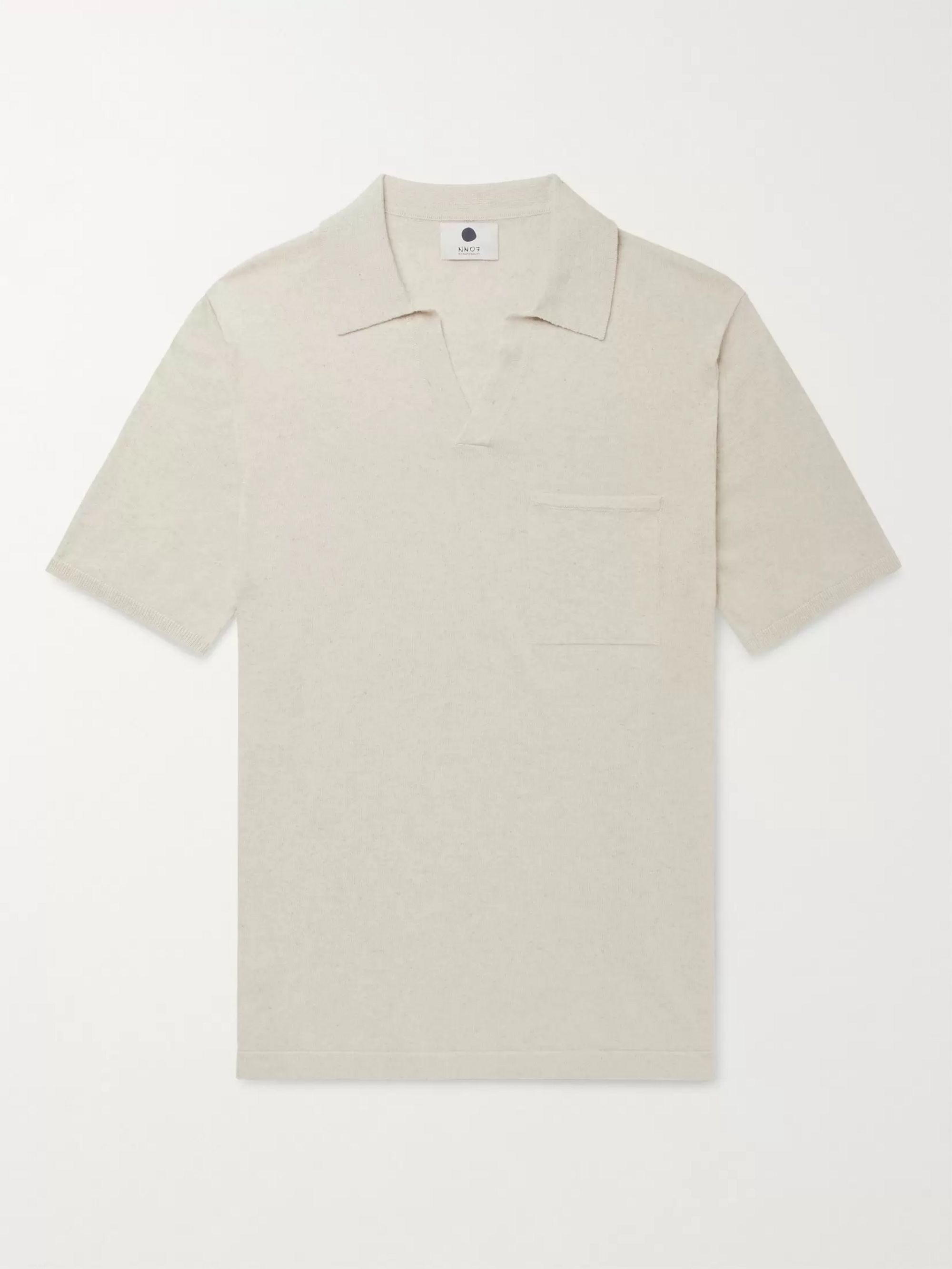 NN07 Ryan Knitted Cotton and Linen-Blend Polo Shirt