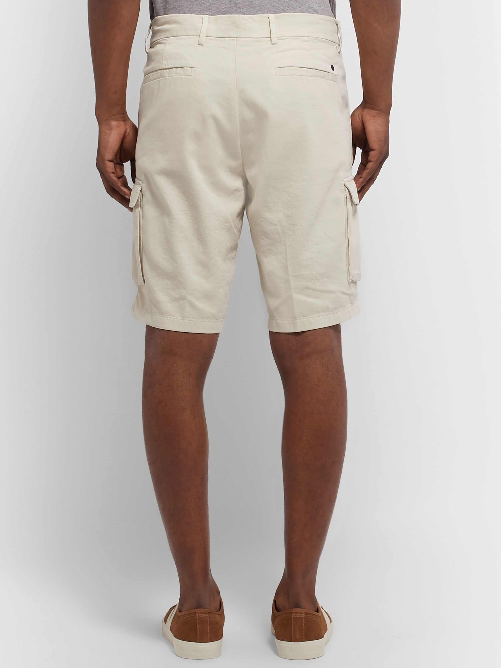 NN07 Slim-Fit Garment-Dyed Cotton, Lyocell and Linen-Blend Twill Cargo Shorts