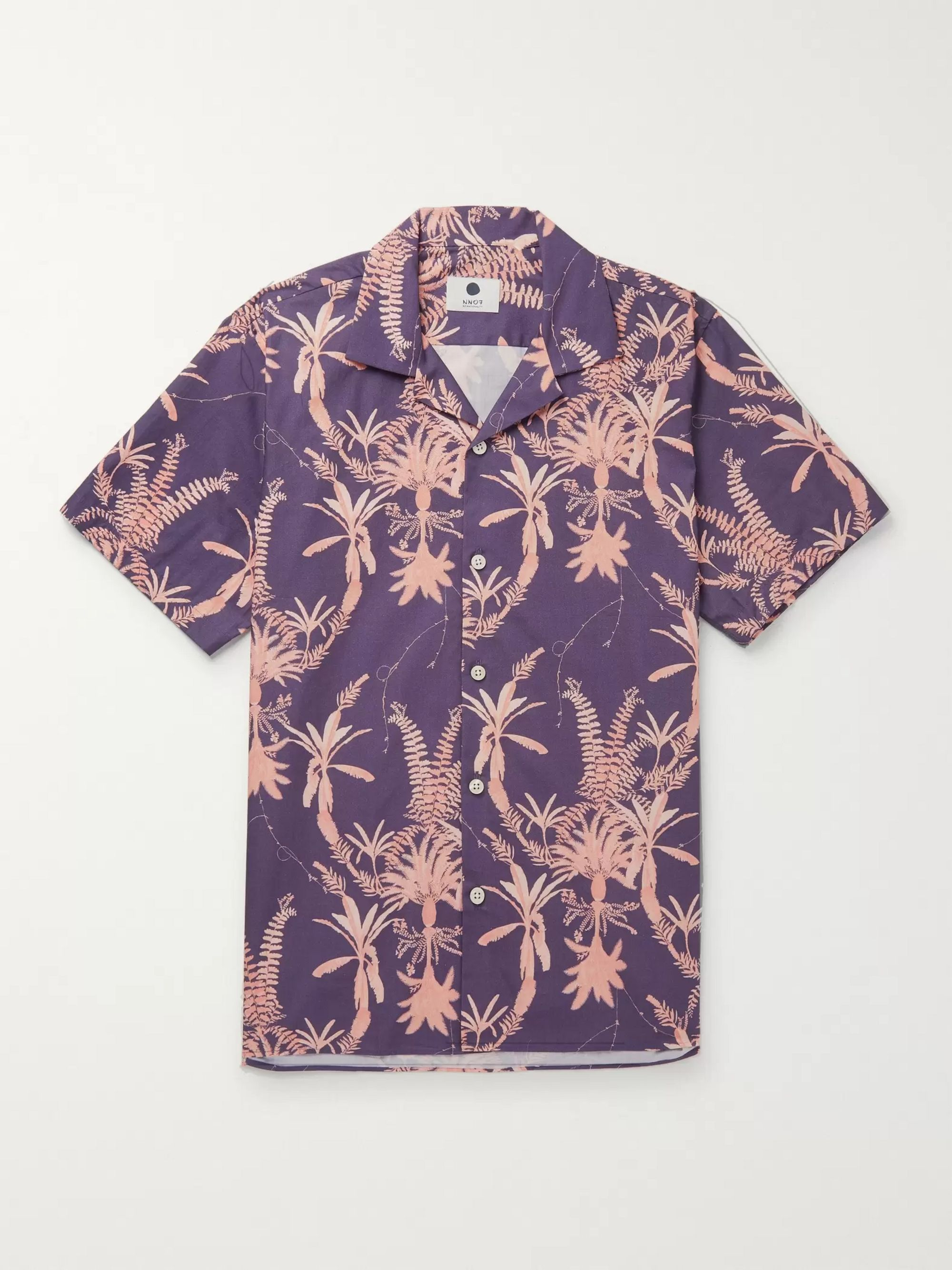 NN07 Miyagi Camp-Collar Printed Cotton Shirt