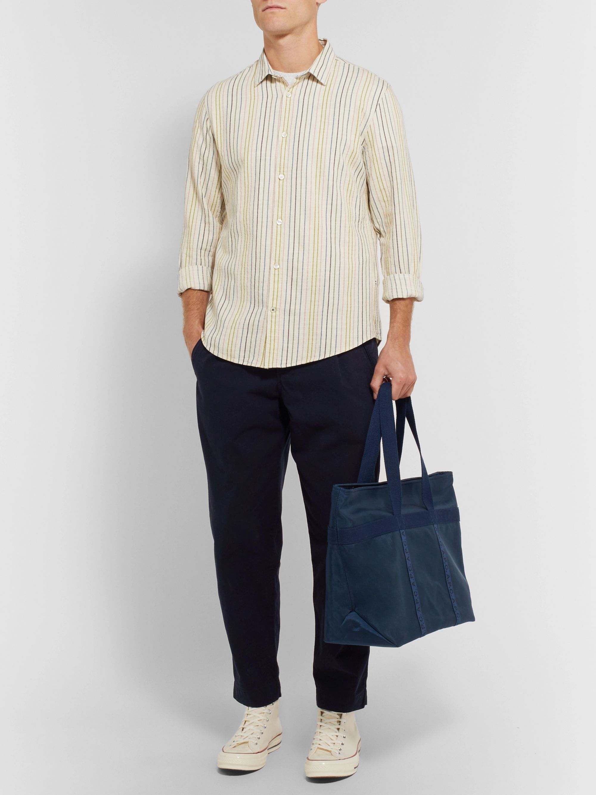 NN07 Morgan Slim-Fit Striped Cotton, Linen and Lyocell-Blend Shirt