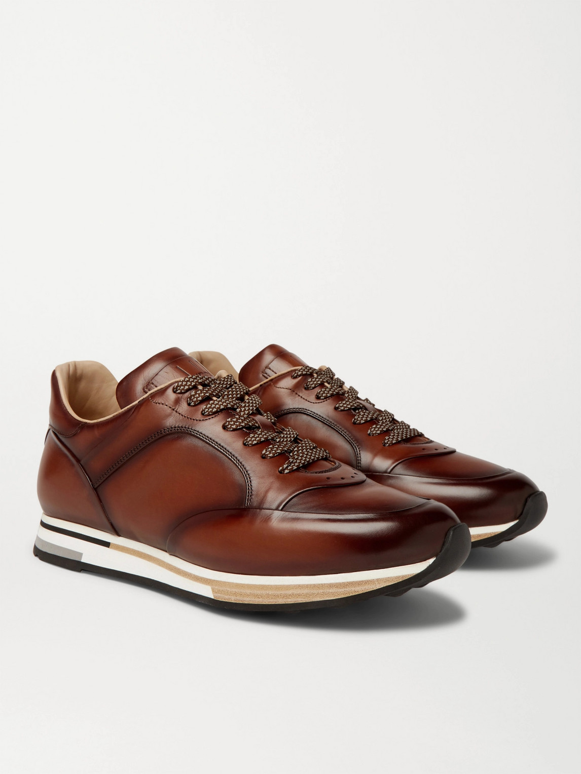 Dunhill Duke Runner Patina-leather Trainers In Tan