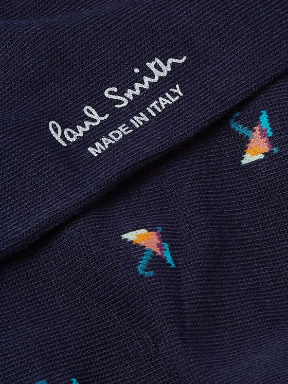 Paul Smith Umbrella-Jacquard Stretch Cotton-Blend Socks