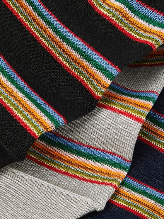 Paul Smith Three-Pack Striped Mercerised Stretch Cotton-Blend No-Show Socks