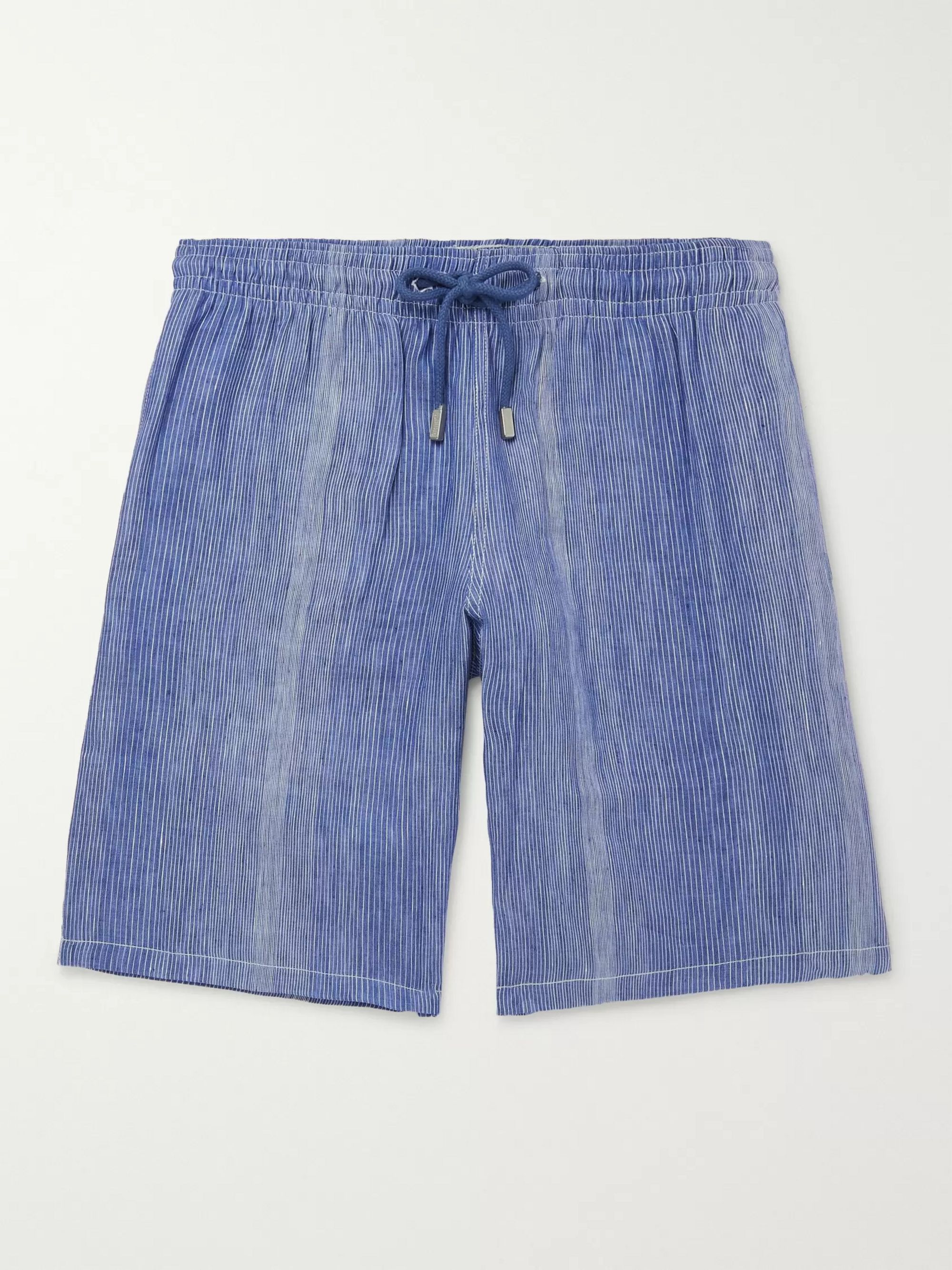 Vilebrequin Bolide Striped Linen and Cotton-Blend Drawstring Shorts