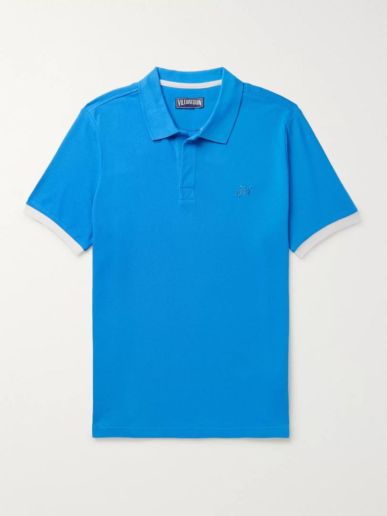 Vilebrequin Palatin Slim-Fit Contrast-Tipped Cotton-Piqué Polo Shirt