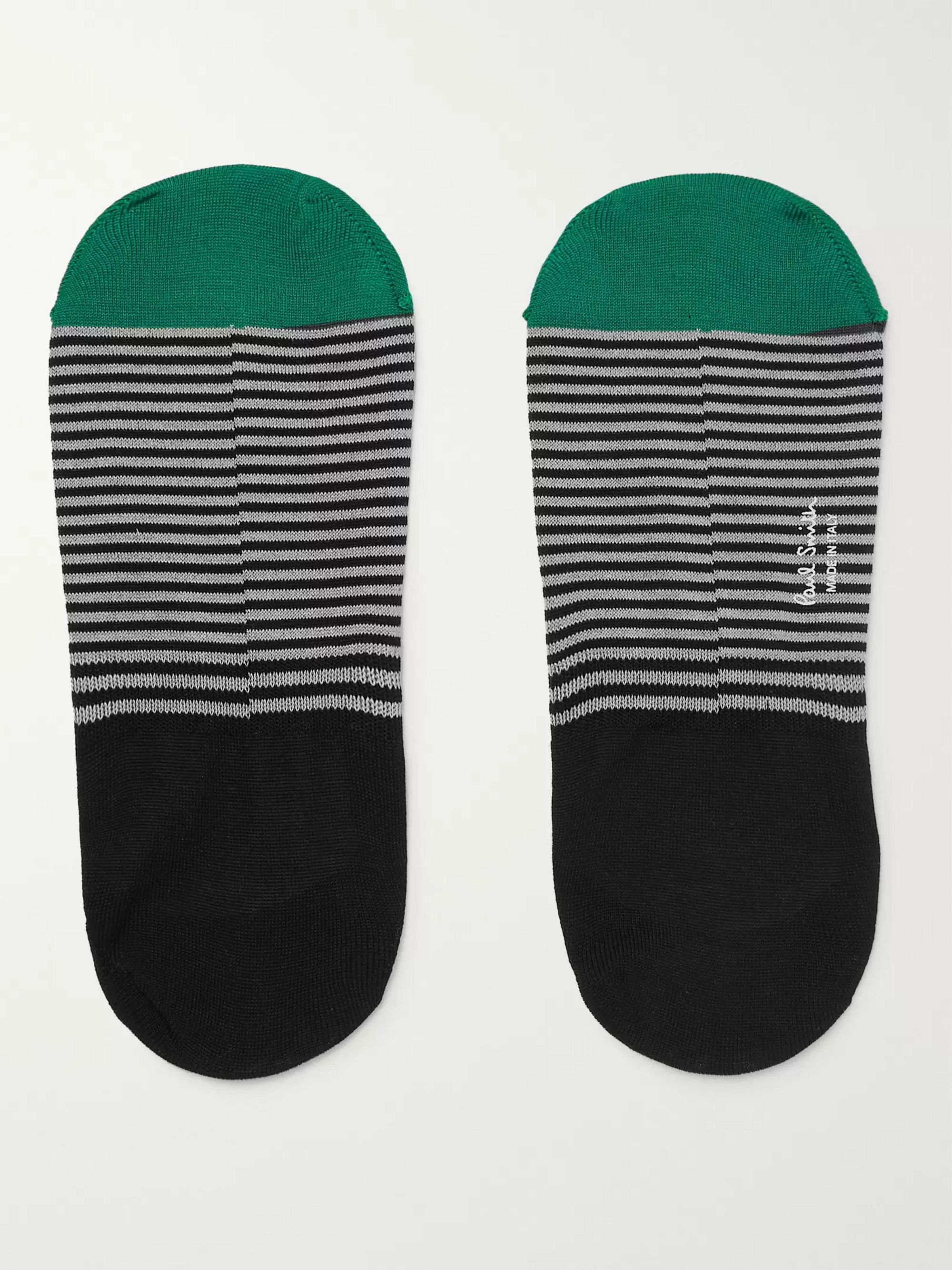 Paul Smith Striped Mercerised Stretch Cotton-Blend No-Show Socks