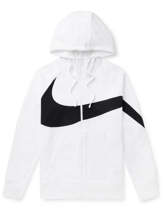 Nike Logo-Detailed Loopback Cotton-Blend Jersey Hoodie