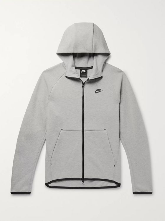 Nike Sportswear Mélange Cotton-Blend Tech Fleece Zip-Up Hoodie