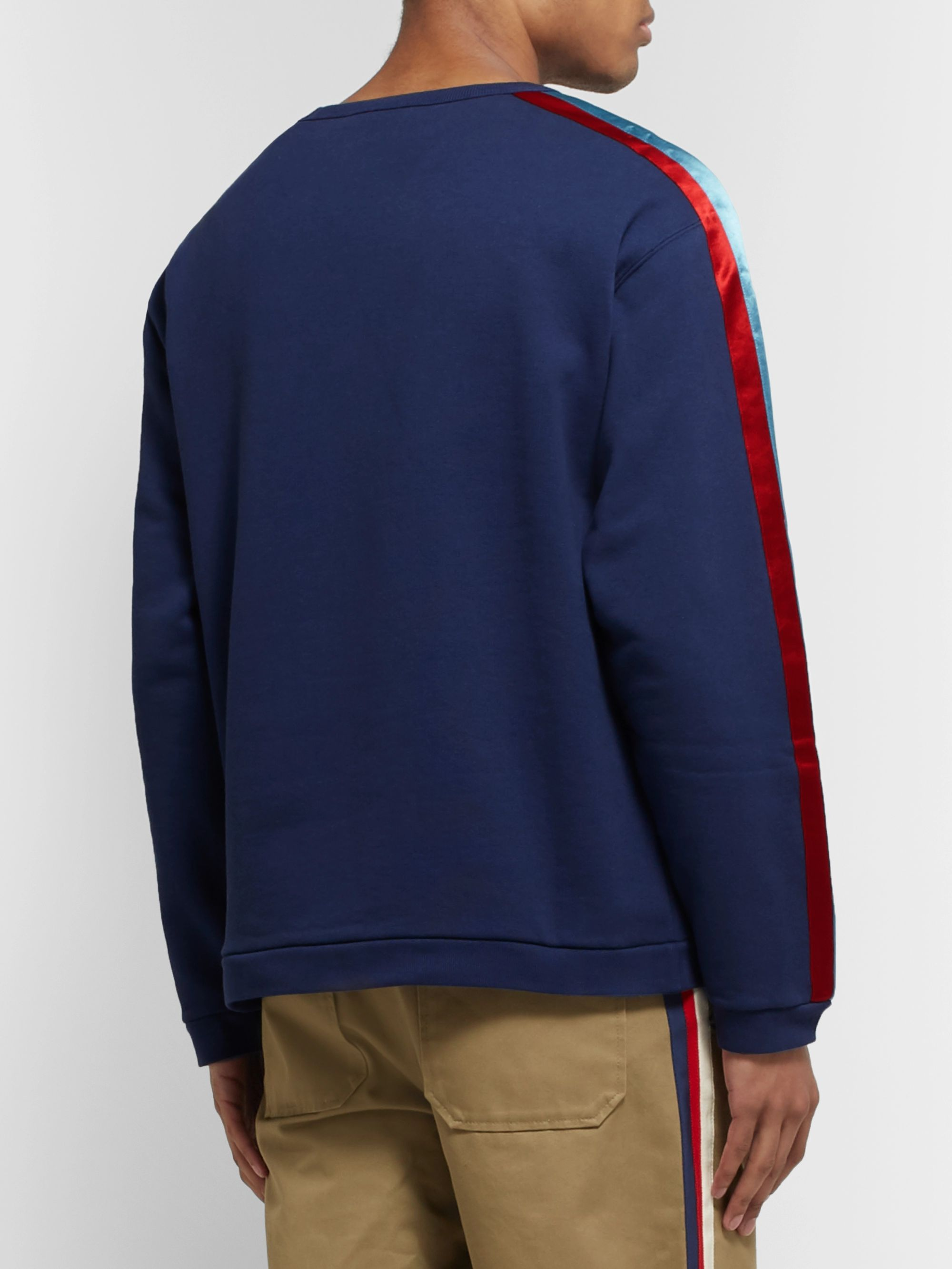 Gucci Logo-Appliquéd Satin Twill-Trimmed Loopback Cotton-Jersey Sweatshirt