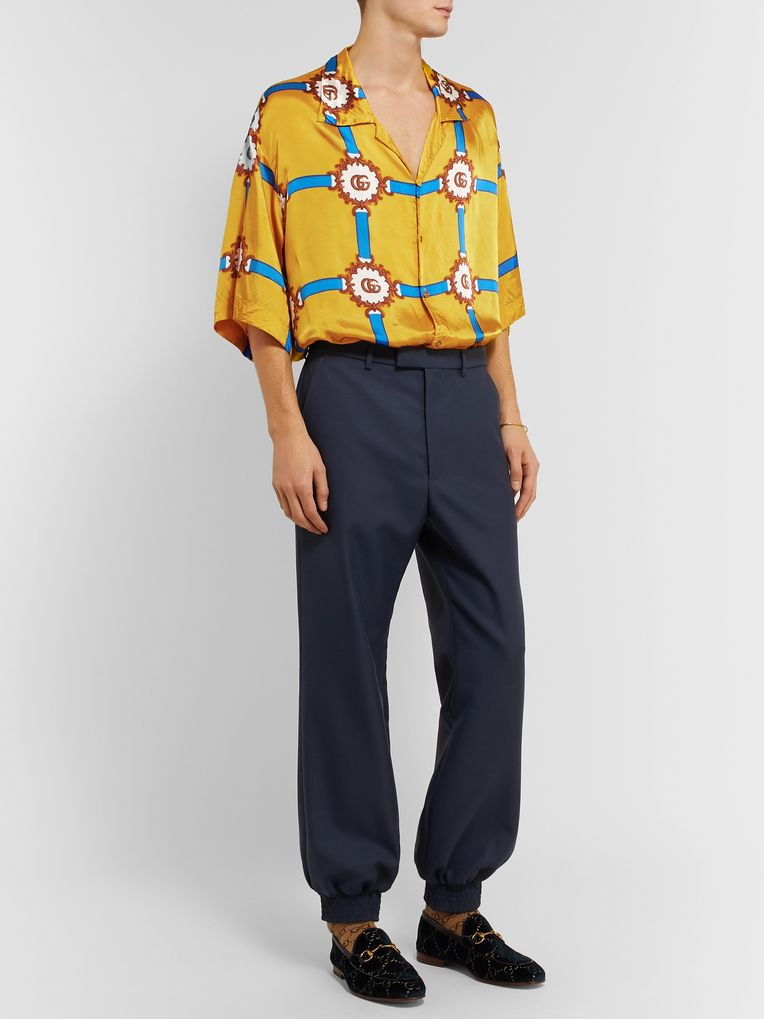 Gucci Oversized Camp-Collar Printed Crinkled-Voile Shirt