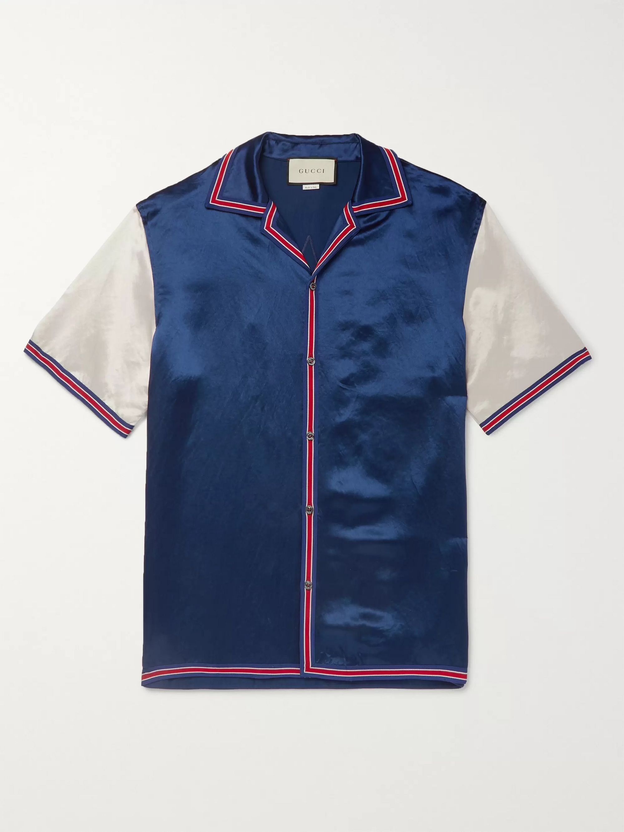Gucci Camp-Collar Logo-Embroidered Satin Shirt