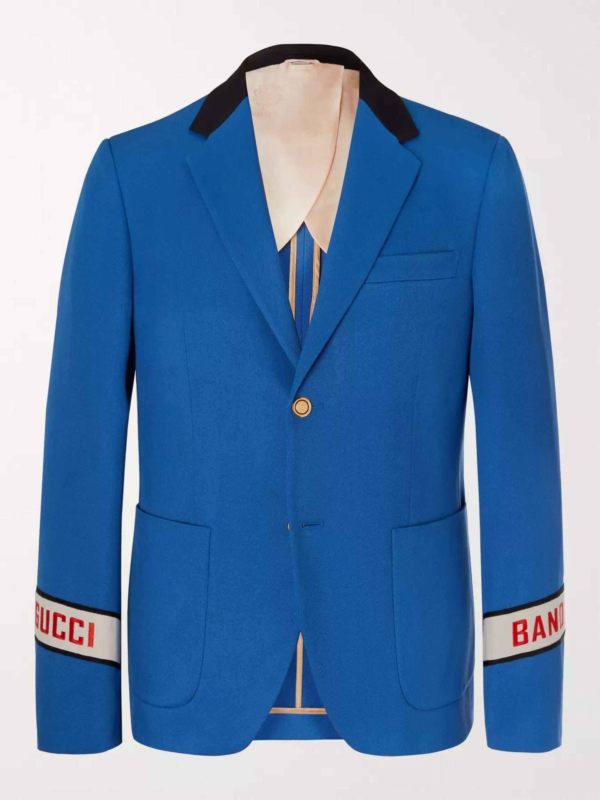 Gucci Blue Cambridge Logo-Embroidered Cotton-Twill Suit Jacket