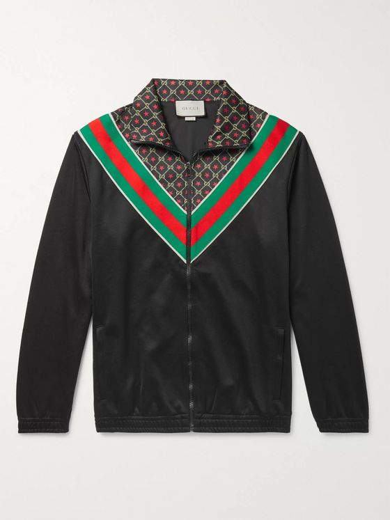 Gucci Webbing-Trimmed Logo-Print Tech-Jersey Track Jacket