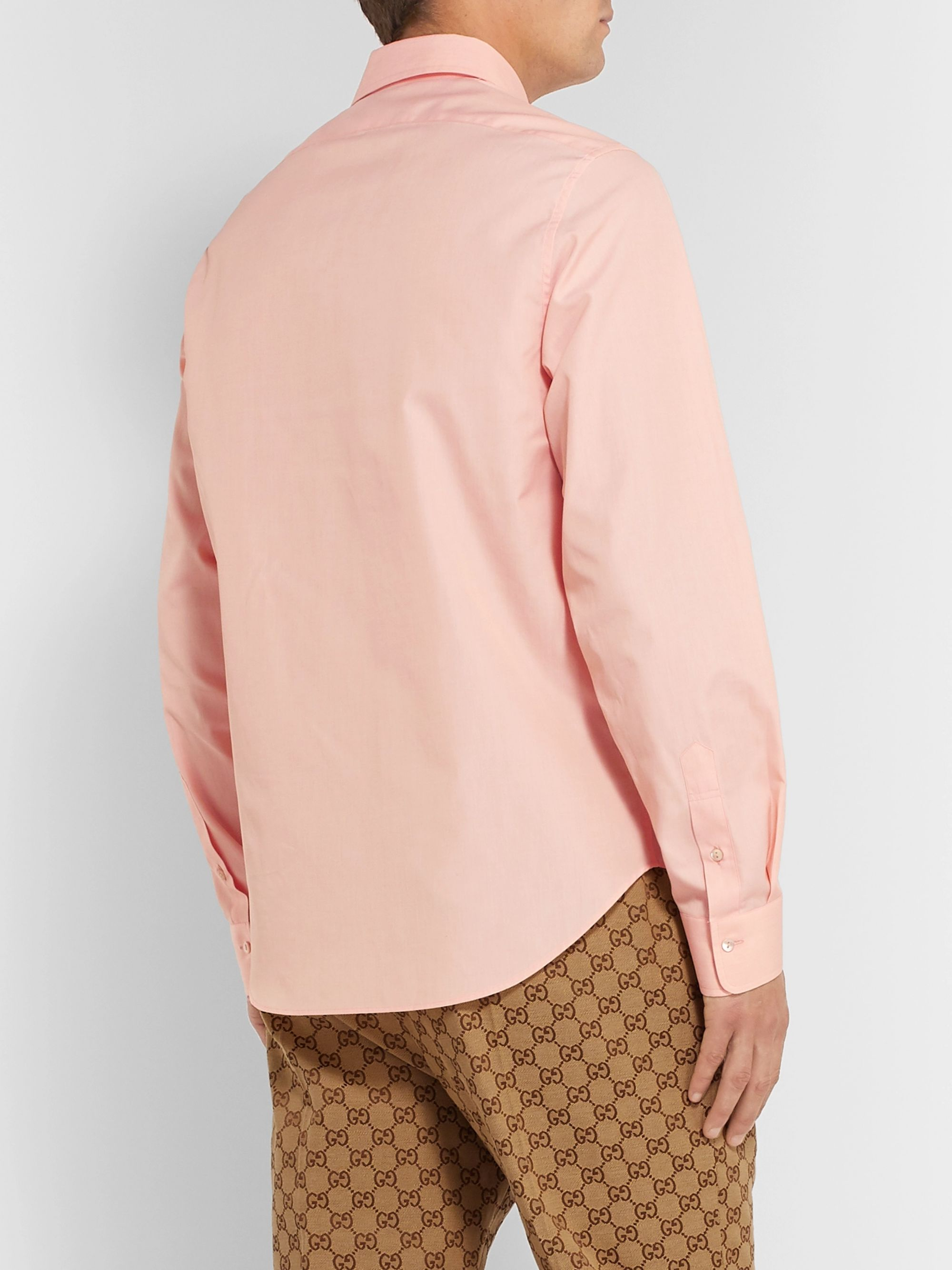 Gucci Peach Cutaway-Collar Cotton-Poplin Shirt