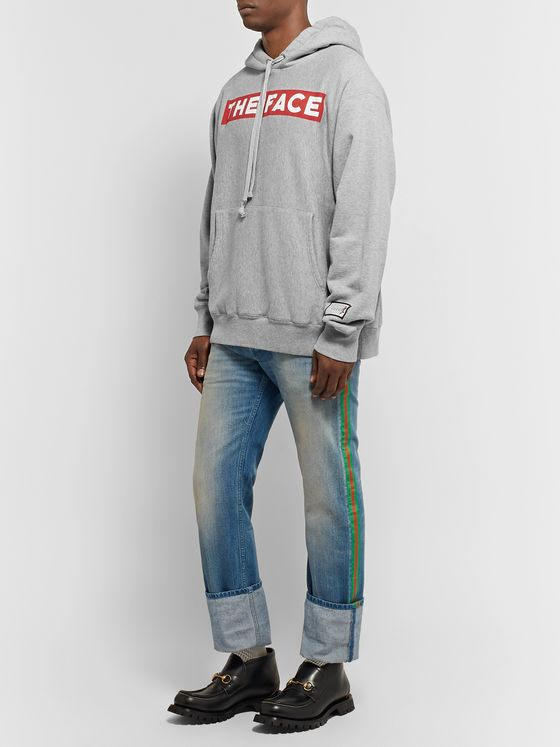 Gucci + The Face Oversized Logo-Print Mélange Loopback Cotton-Jersey Hoodie