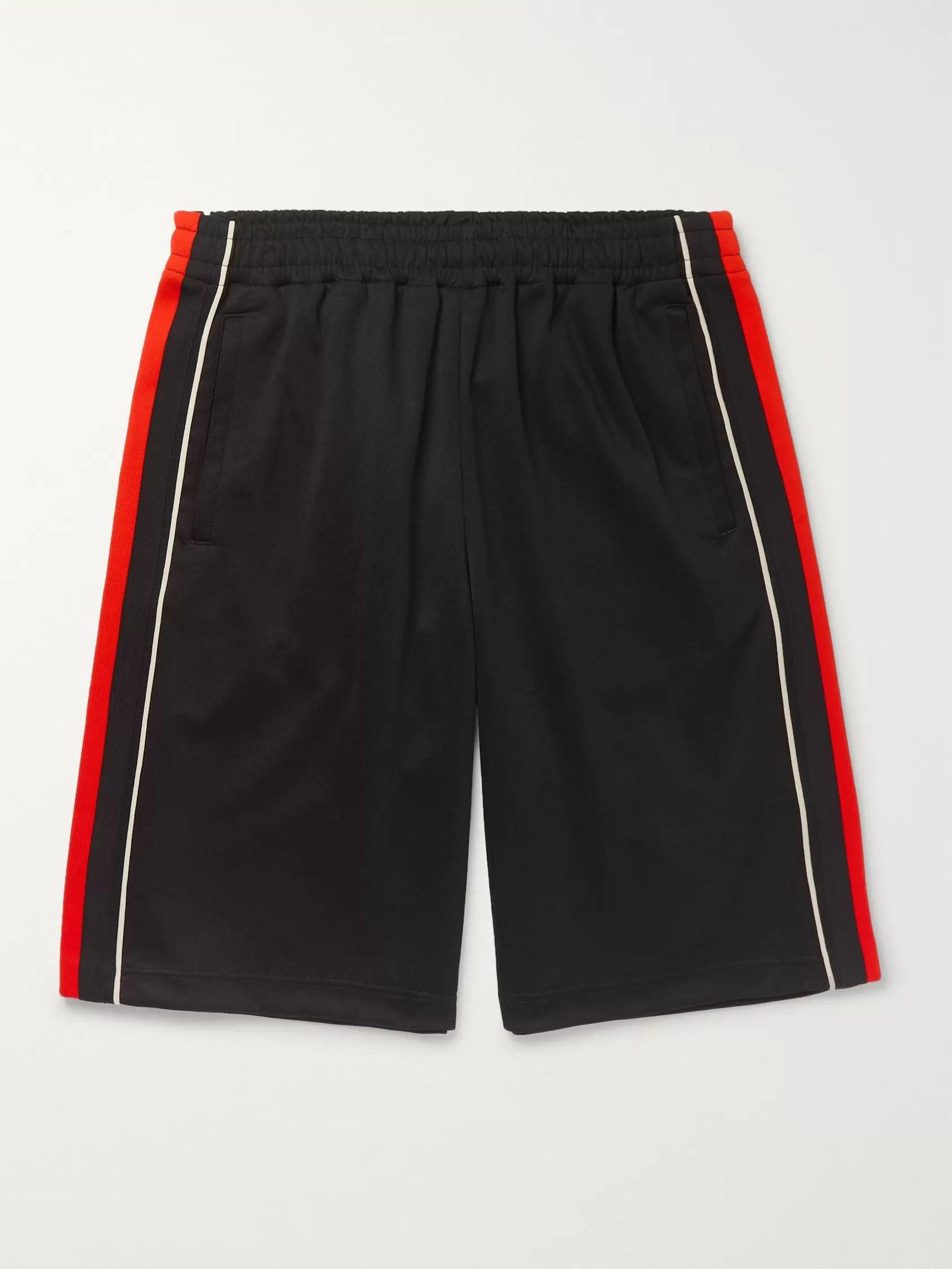구찌 Gucci Wide-Leg Logo-Embroidered Webbing-Trimmed Tech-Jersey Shorts,Black