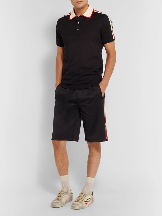Gucci Wide-Leg Logo-Embroidered Webbing-Trimmed Tech-Jersey Shorts