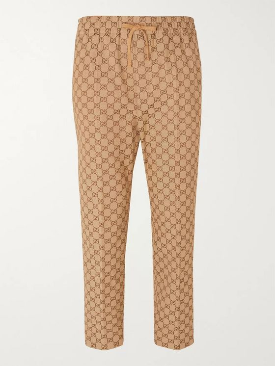 Gucci Beige Cropped Tapered Logo-Jacquard Cotton-Blend Suit Trousers
