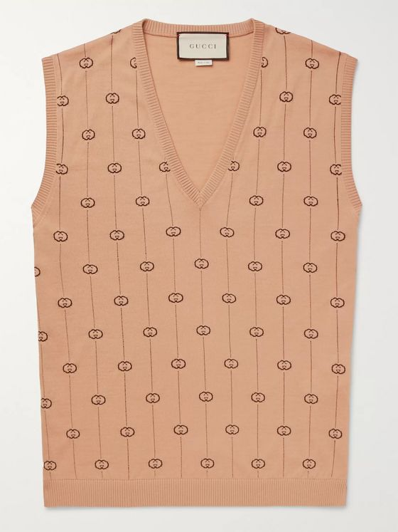Gucci Logo-Jacquard Wool-Blend Sweater Vest