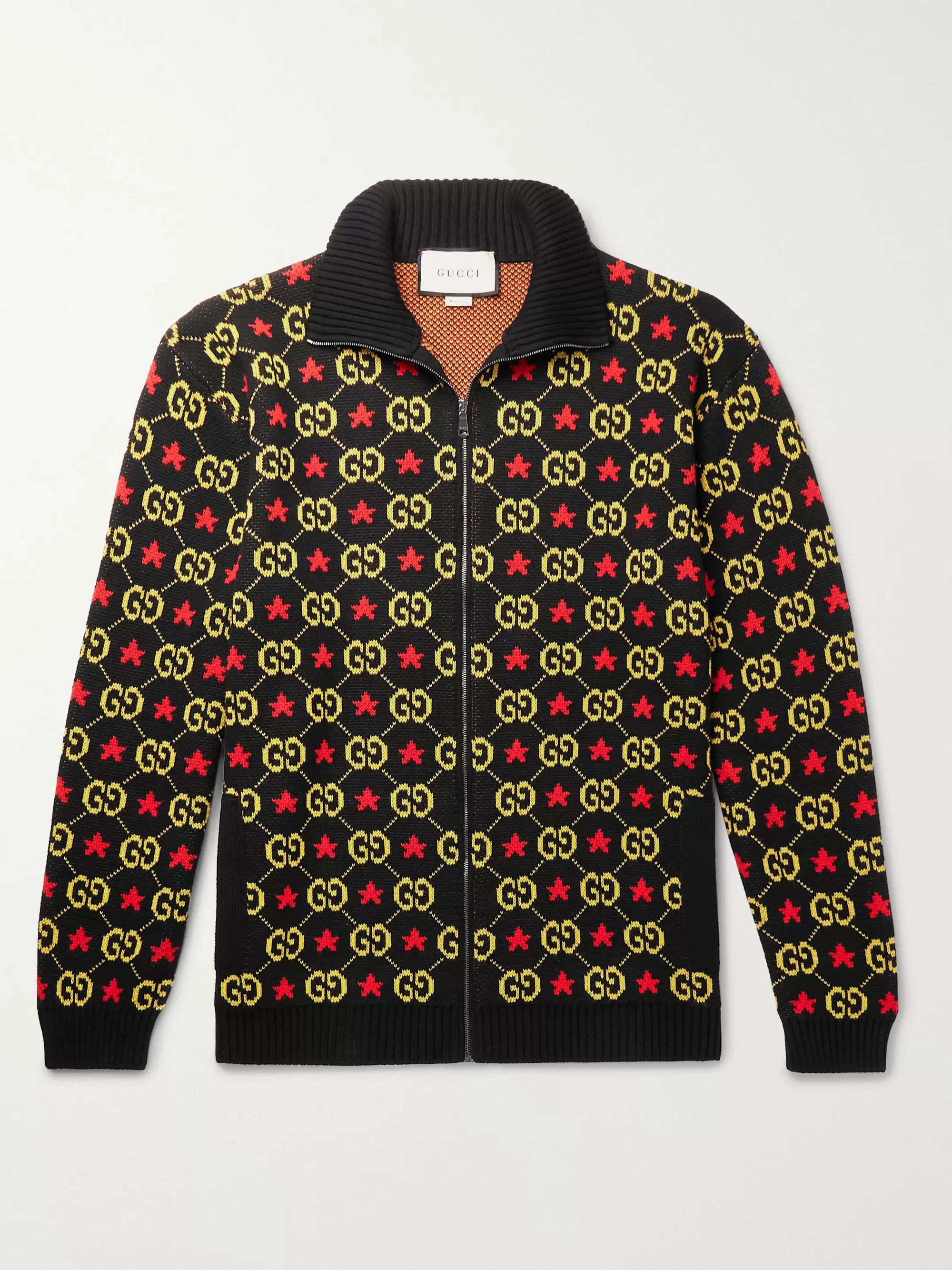 Gucci Logo-Jacquard Cotton Zip-Up Cardigan