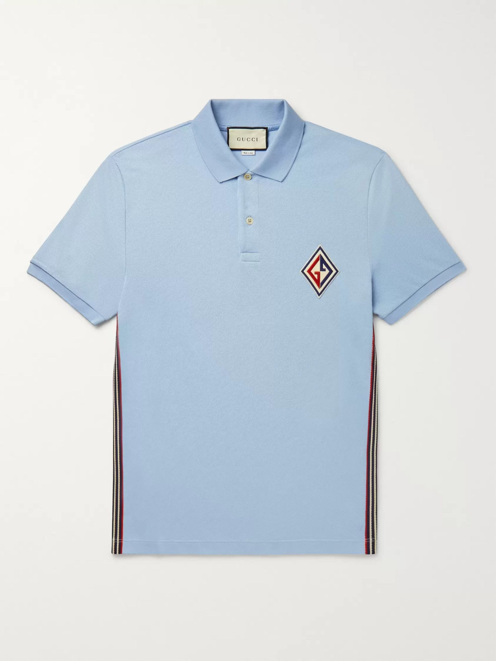 Gucci Logo-Appliquéd Striped Cotton-Blend Piqué Polo Shirt