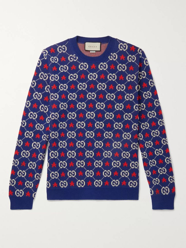 Gucci Logo-Intarsia Cotton Sweater