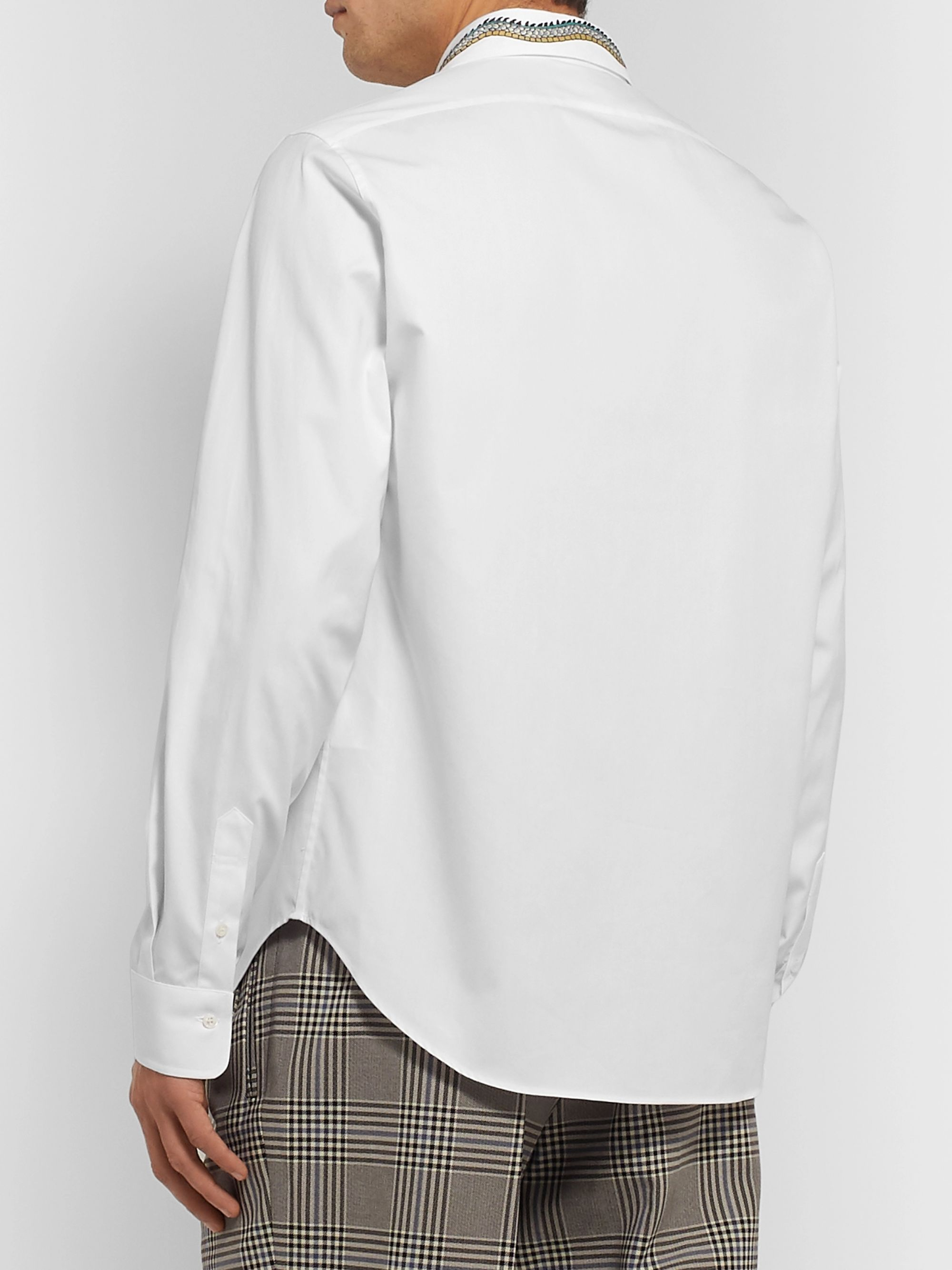 GUCCI White Slim-Fit Cutaway-Collar Embroidered Cotton-Poplin Shirt
