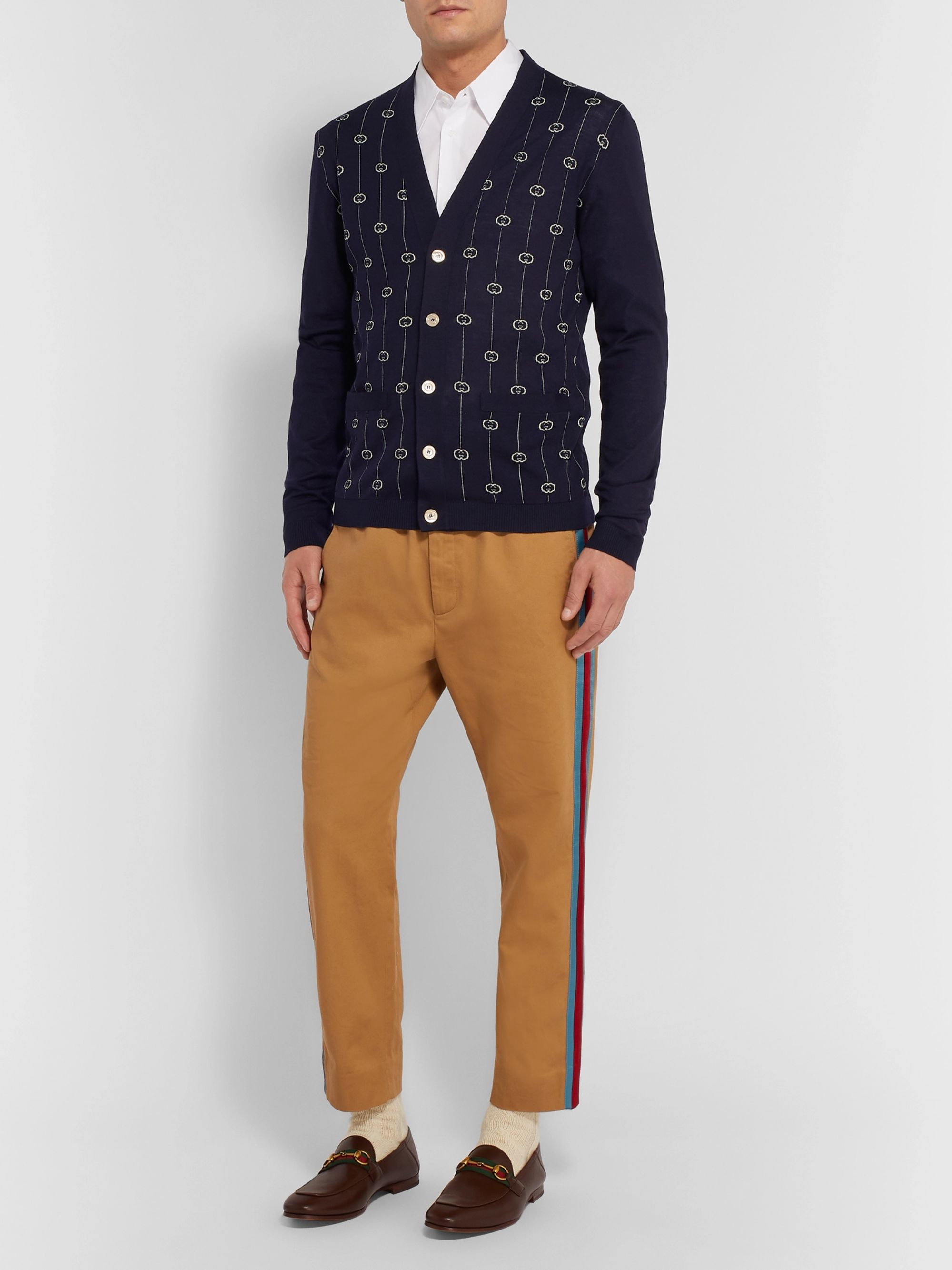 Gucci Slim-Fit Logo-Jacquard Wool-Blend Cardigan