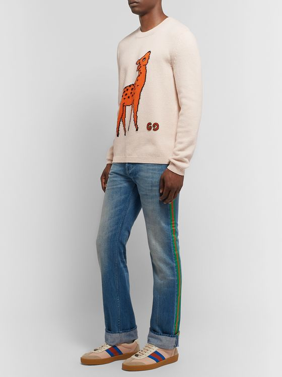 Gucci Slim-Fit Logo-Appliquéd Intarsia Wool Sweater