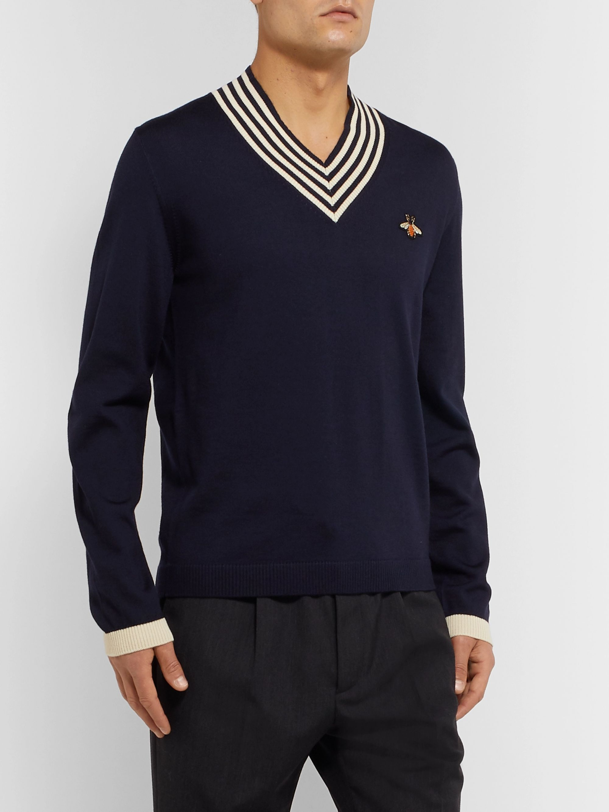 Gucci Appliquéd Striped Wool Sweater