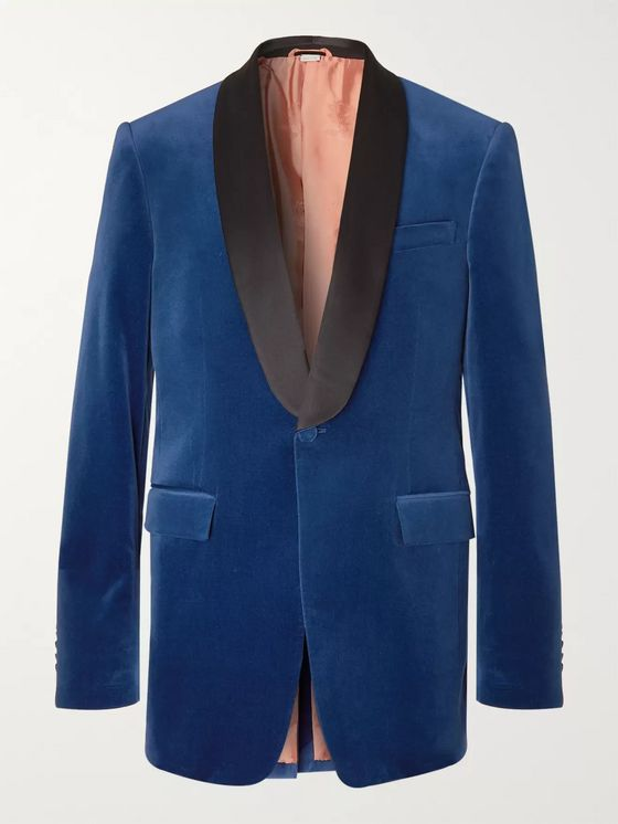 Gucci Blue Slim-Fit Silk Satin-Trimmed Cotton-Blend Velvet Tuxedo Jacket