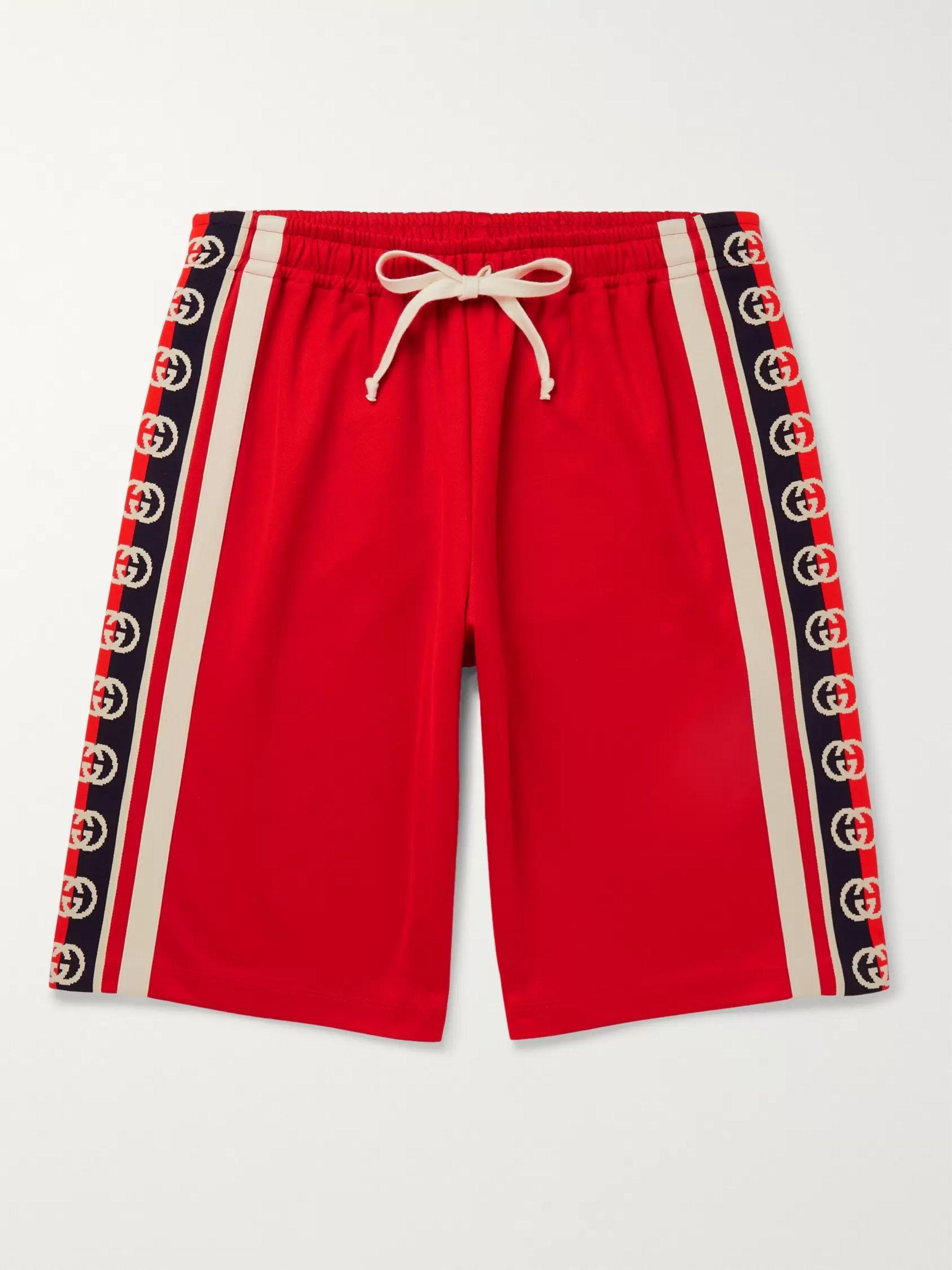 구찌 Gucci Webbing-Trimmed Tech-Jersey Shorts,Red