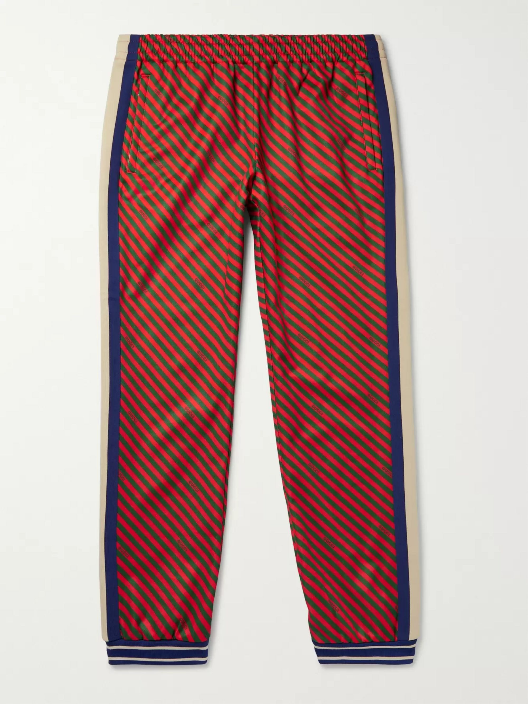 구찌 Gucci Multi Tapered Webbing-Trimmed Printed Tech-Jersey Track Pants,Multi