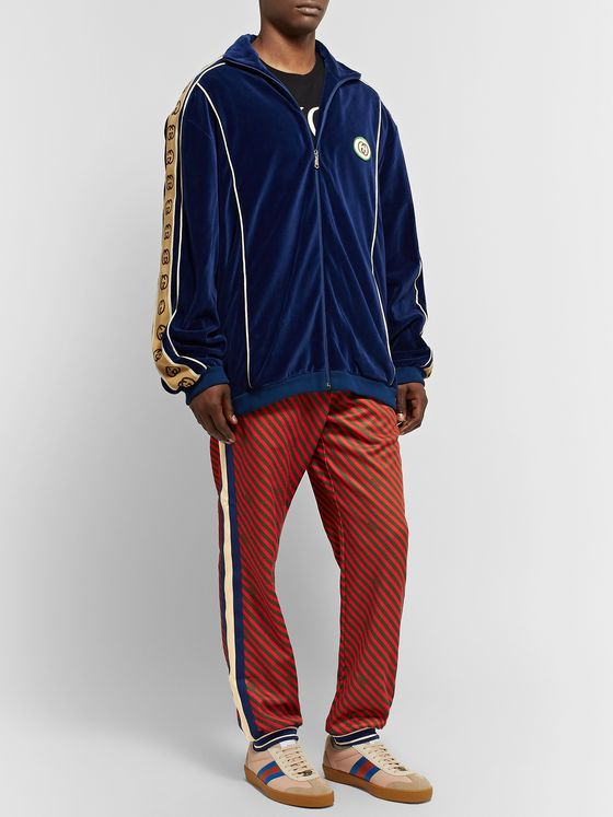 GUCCI Tapered Webbing-Trimmed Printed Tech-Jersey Track Pants