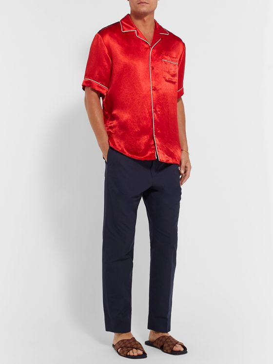 Gucci Camp-Collar Printed Satin Shirt