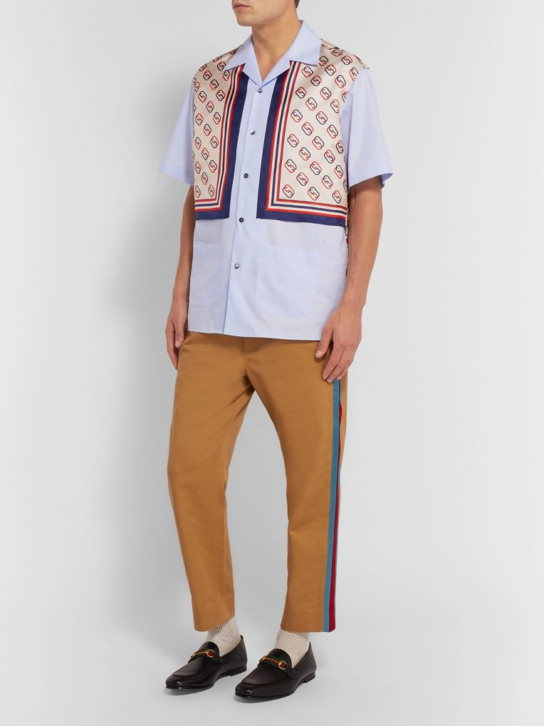 Gucci Camp-Collar Logo-Print Silk-Twill and Cotton Shirt